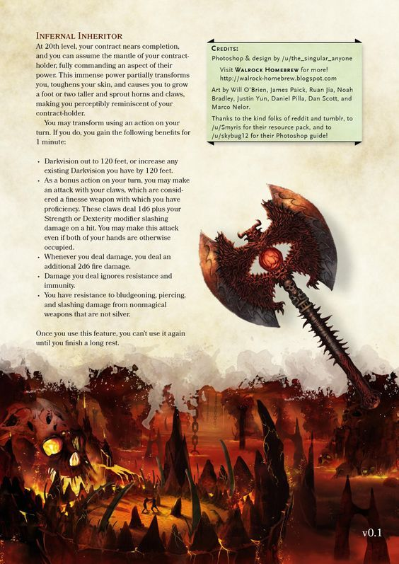 Oath of the Hellsworn Paladin by the_singular_anyone | Dnd 5e homebrew, D&d dungeons and dragons ...