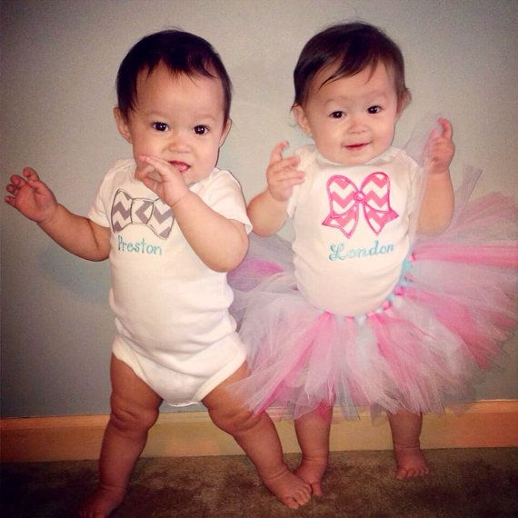 14a977d32 Twinsy Boy Girl Twins First Birthday onesie Bow Bowtie personalized ...