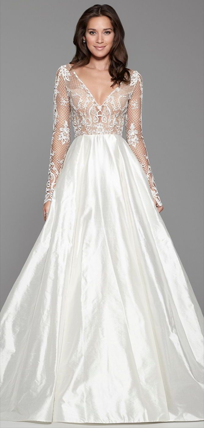 8d45042c0097c Ivory silk shantung bridal ball gown, embroidered Lattice lace bodice, V  neckline with detailed