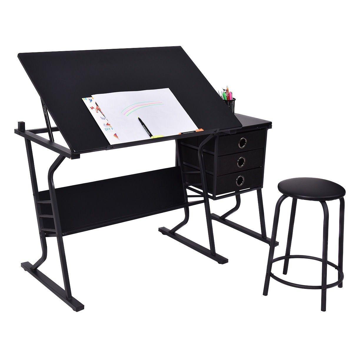 Prime Black Adjustable Drafting Table W Stool Side Drawers Download Free Architecture Designs Embacsunscenecom