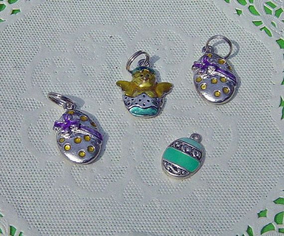 Lot Of Easter Theme Egg Chick Charm Pendants by Castawayland, $4.25