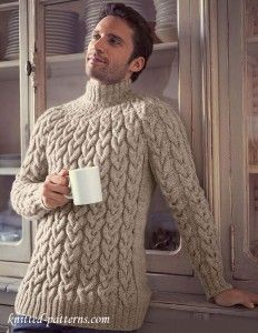 Top Down Cable Sweater Knitting Pattern Hand Knit Turtleneck