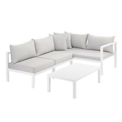 Grey Felix 4 Seater Aluminium Outdoor Sofa Set Courtyard