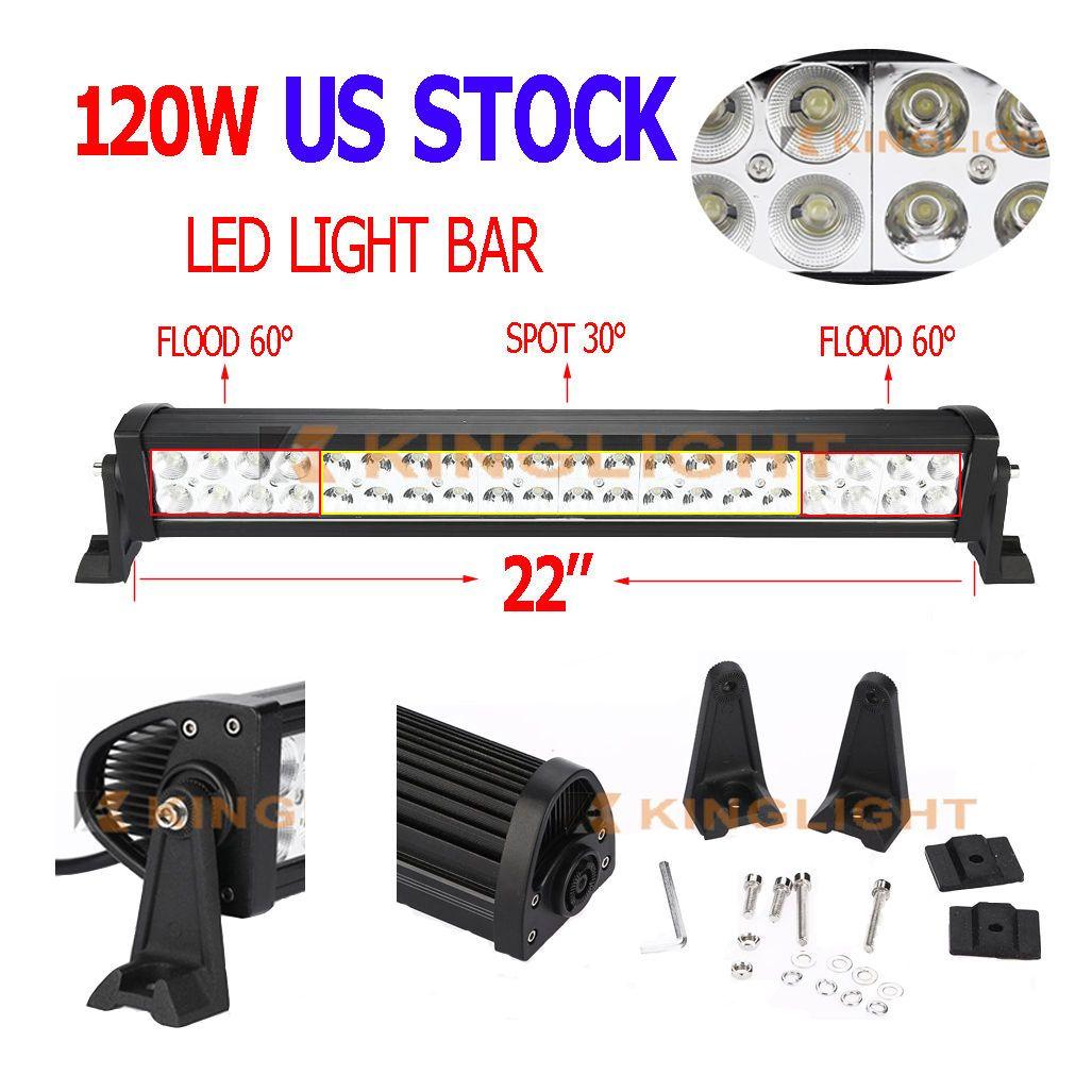22 Inch 120w Led Light Bar Flood Spot Combo Work Lights 4wd Ute Offroad Suv Atv Lights Parts Accessories Truck Li Bar Lighting Led Work Light Work Lights