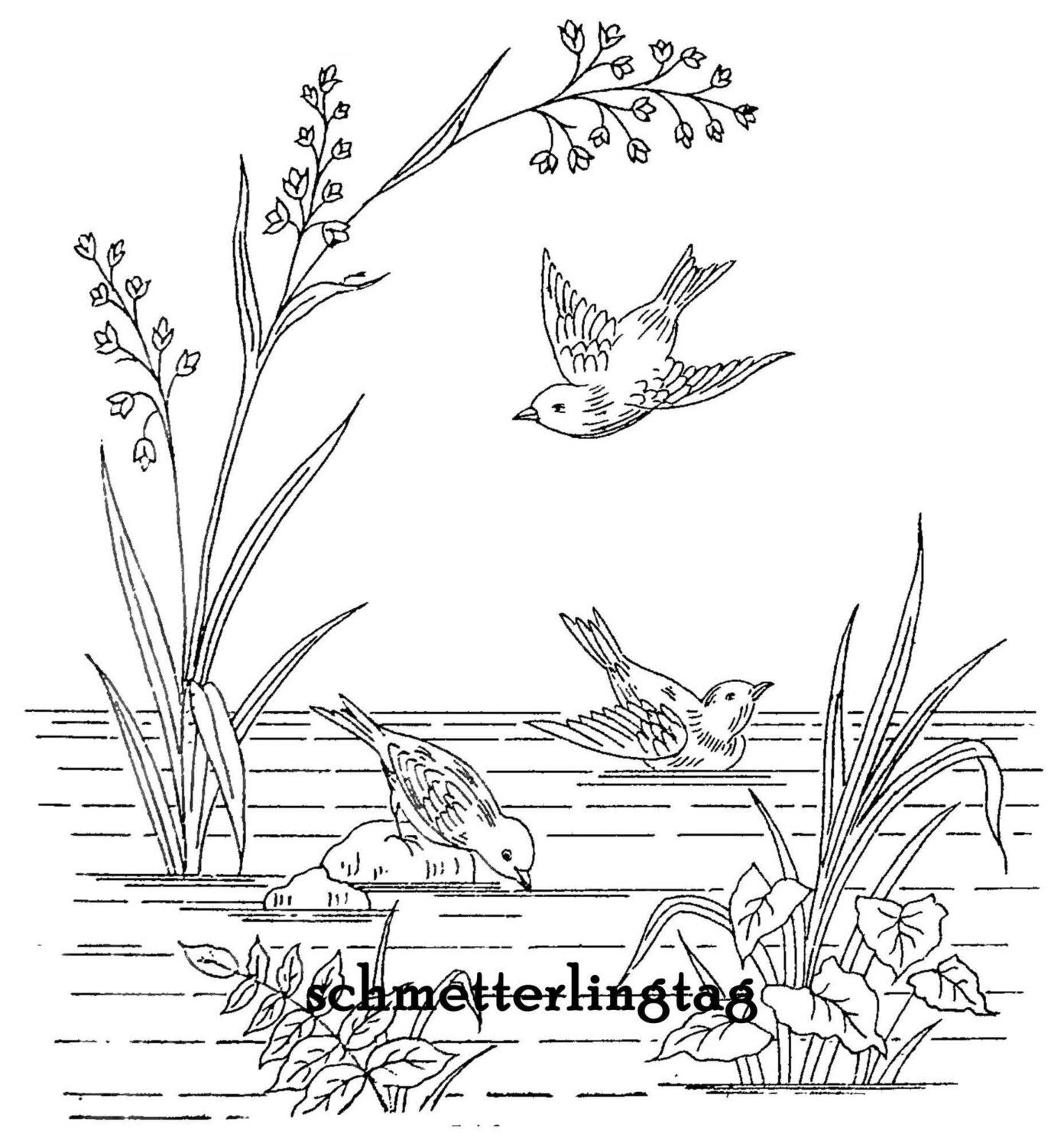 pin by kitty and me designs on embroidery patterns pinterest Magazine Names genuine victorian patterns pond with water plants cattails heron and butterfly