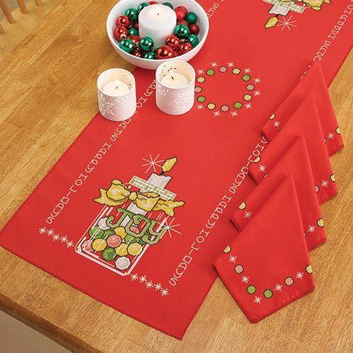 Joy Mason Jar Table Runner & Napkins Stamped Cross-Stitch - Herrschners #christmas #holidays