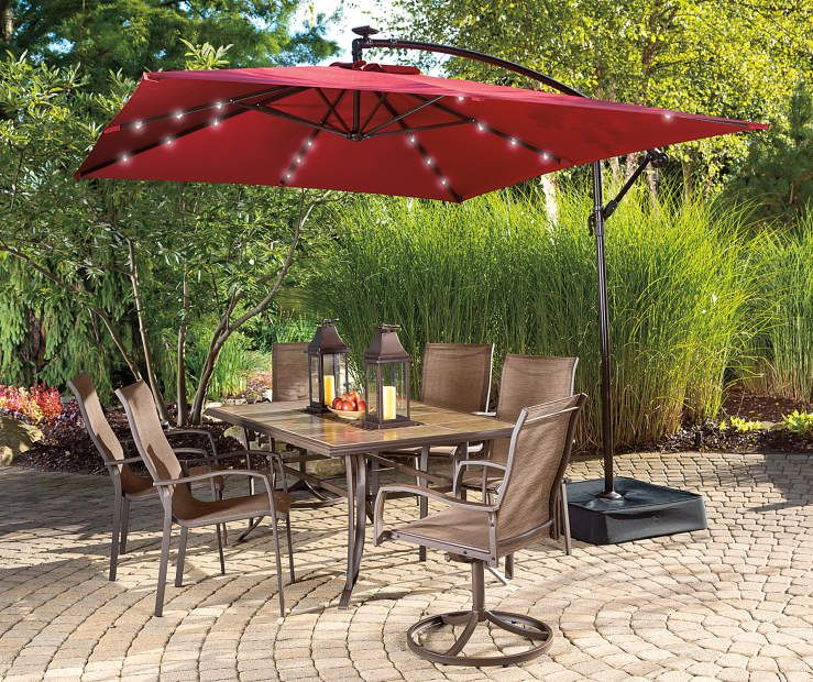 Rectangular Offset Solar Light Umbrella