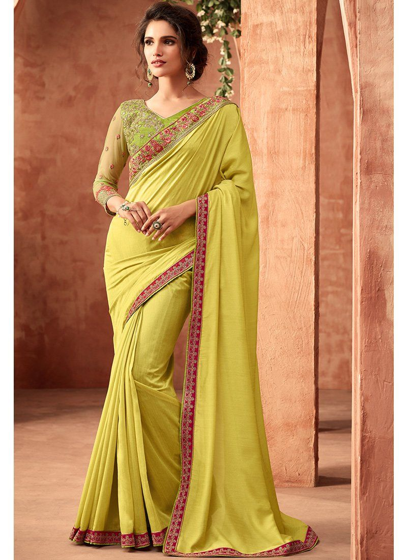 e4be2061d1b0 Lime Green and Pink Embroidered Silk Saree in 2019 | DRESS IDEAS ...
