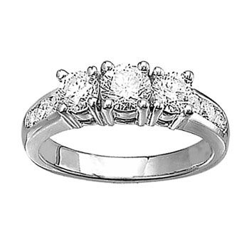 14k White Gold 1ct Past Present Future Engagement Ring