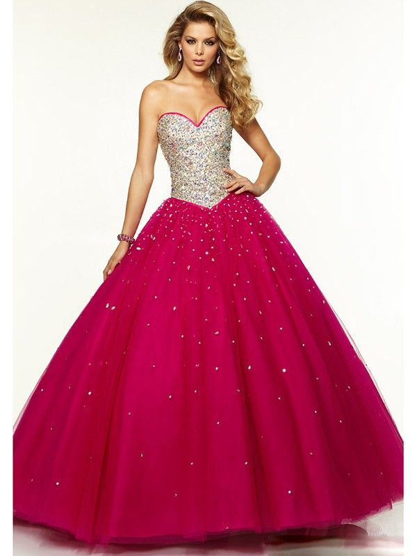 9ced659baa Ball Gown Sleeveless Beading Sweetheart Tulle Floor-Length Dresses JollyProm