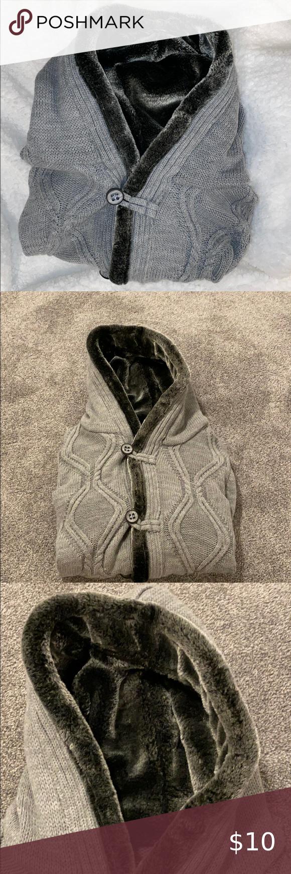 Men Button Down Sweater Size Medium