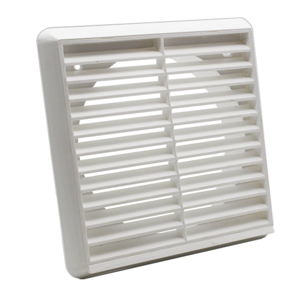Kair Louvred Grille 150mm 6 Inch White External Wall Ducting Air Vent With Round Spigot Grilles Round Blinds