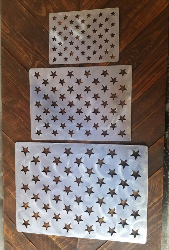 American flag stencil wooden flag star stencil steel set of 3 small medium large