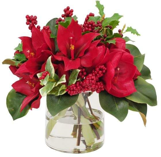 Faux Garden Amaryllis & Holly in Glass Vase #amaryllisdeko