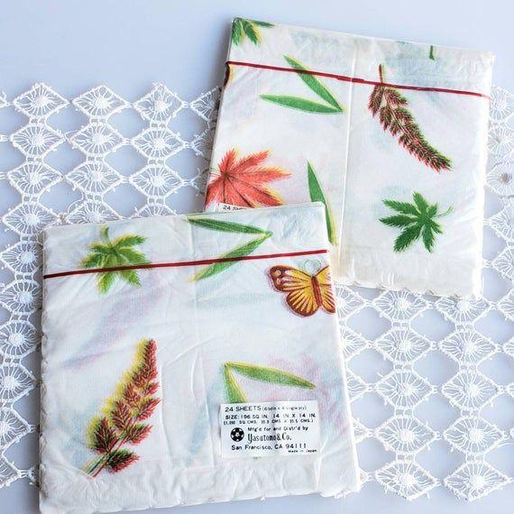 Vintage leaf and butterfly rice paper napkins orange green unopened 24 pack for decoupage or dinner #papernapkins