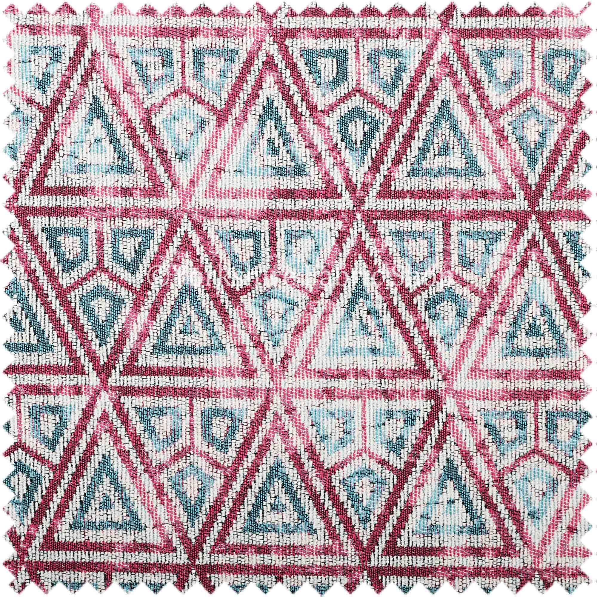 Pink White Blue Balanced Shapes Design Soft Chenille Upholstery - Designer upholstery fabric teal