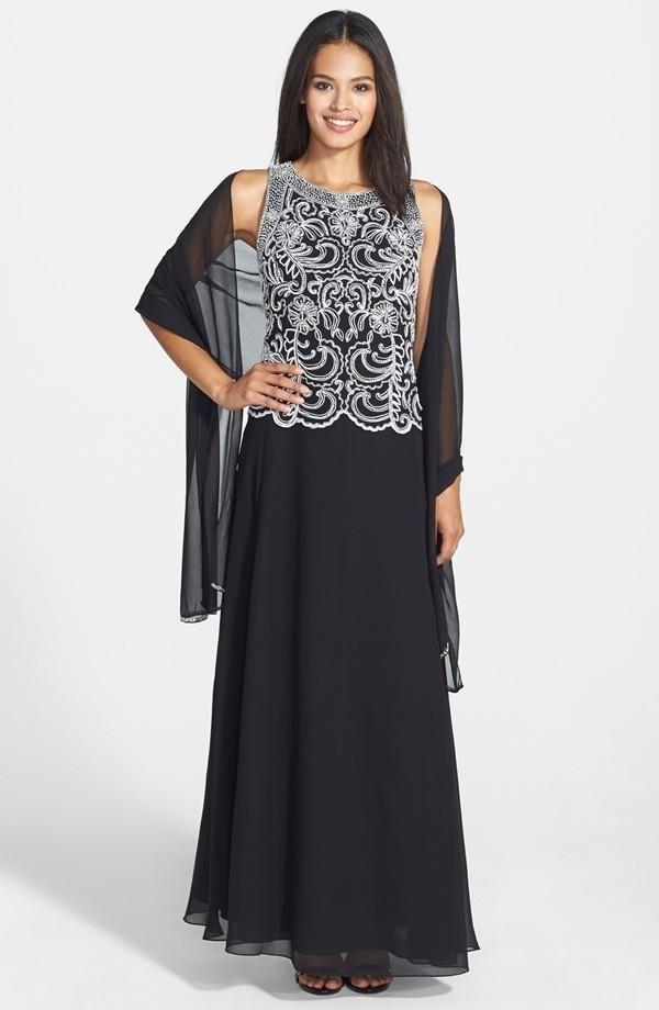 Nwt j kara mock two-piece ornately beaded chiffon gown in black ...