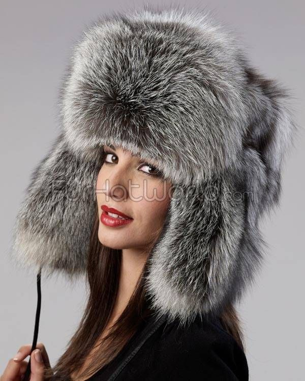 Ladies Silver Fox Full Fur Russian Hat in 2019  329ca9cf842a