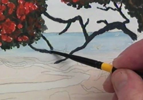 How To Paint Pohutukawa At The Beach In Watercolour Online Art
