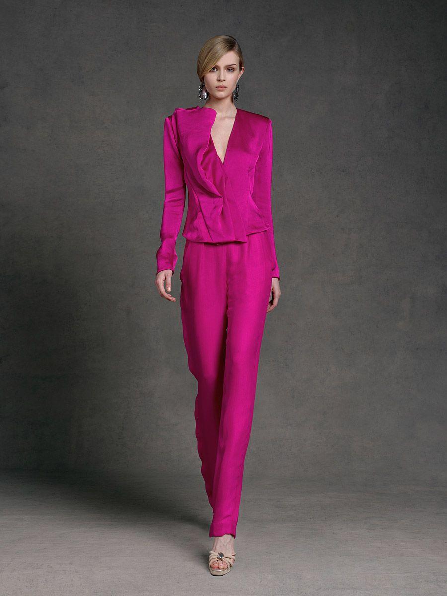 Donna Karan     pink power suit