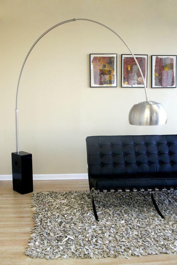 Black Cube Shaped Marble Base Arco Floor Lamp Black Floor Lamp
