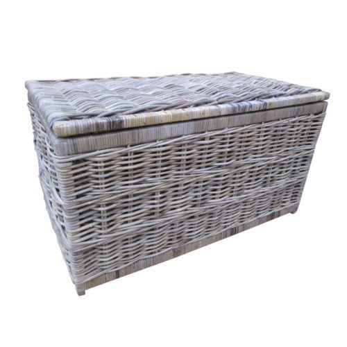 Grey u0026 Buff Rattan Wicker Storage Trunk Chest Basket Box Blanket Toy Laundry Lid | eBay  sc 1 st  Pinterest & Grey u0026 Buff Rattan Wicker Storage Trunk Chest Basket Box Blanket Toy ...