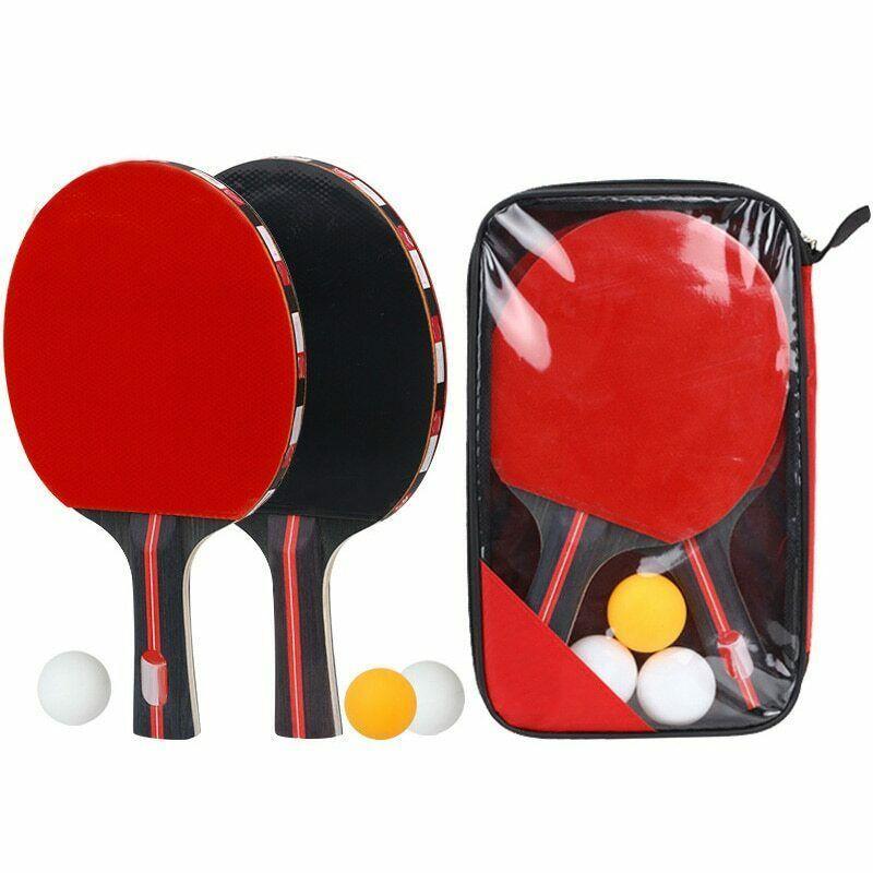 Advertisement Ebay 2pcs 7 Ply Wooden Table Tennis Ping Pong Racket Paddle Bat W 3pcs Balls Kit Set Table Tennis Table Tennis Player Table Tennis Set
