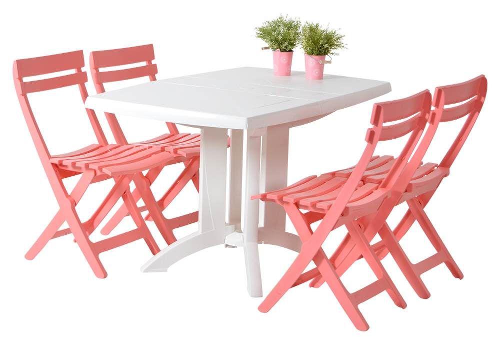 roze tuinset, grosfillex miami bistrostoel met vega tafel ...