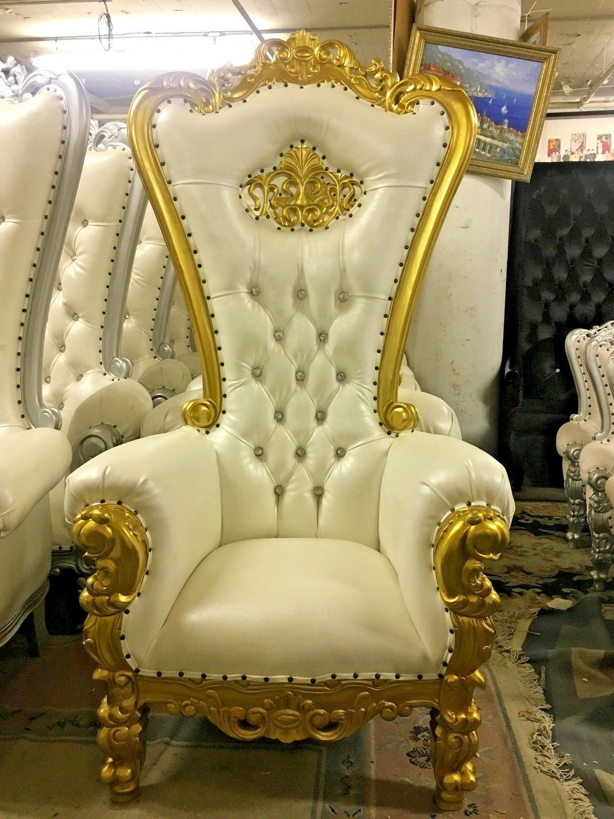 High Back White Gold Baroque Carved Tiffan Party Throne Chair With