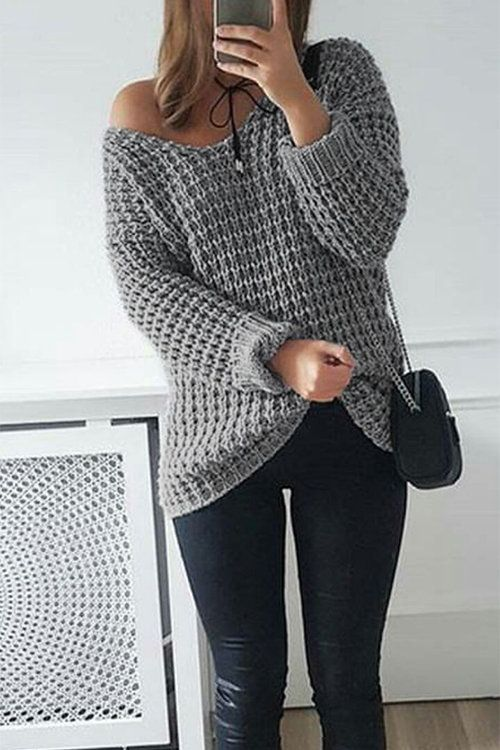 If you're looking for a cozy top that can go with cutoffs, leggings and everything in between, look no further than this knit sweater. It's styled with a off shoulder neckline and ribbed knit. This sweater is one versatile topper you'll want to have in your fall wardrobe.