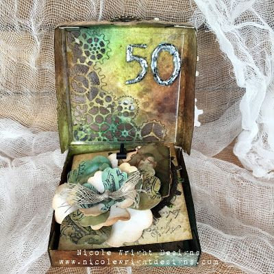Creative Crescent Product Ideas: Mixed-Media Birthday Box Tutorial with Eileen Hull Sizzix Dies by Nicole Wright
