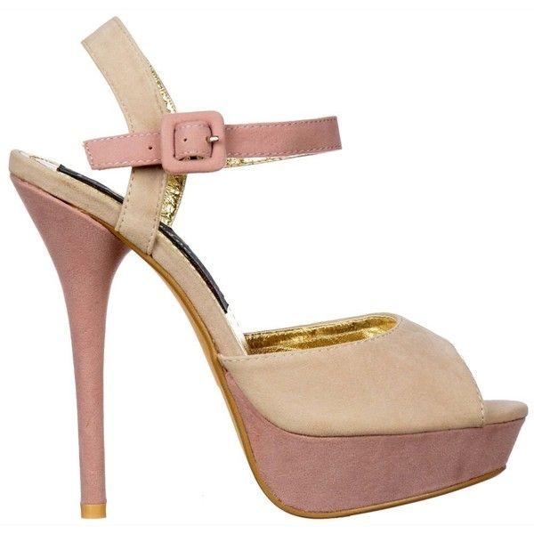 95f8ea15b334 Shoekandi Suede Peep Toe High Heels Two Tone Strappy Sandals Ice Dusty... (