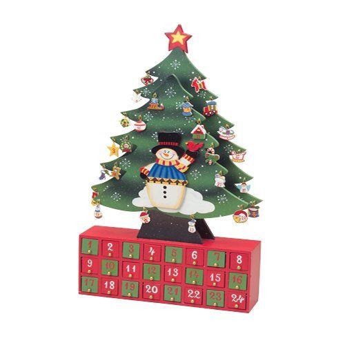 CP Toys Christmas Tree Snowman Advent Calendar with Ornaments Wood