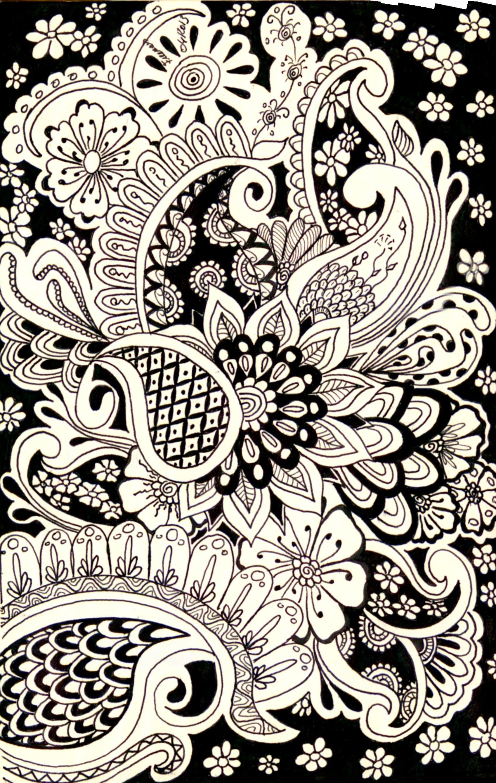 Monochrome paisley patterns pinterest patterns zen - Doodle dessin ...