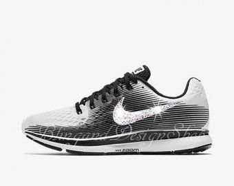 new product 050a7 d61b1 Swarovski Nike Air Zoom Pegasus 34 LE Women s White Black Nike Shoes  Customized with Swarovski Crystal Rhinestones