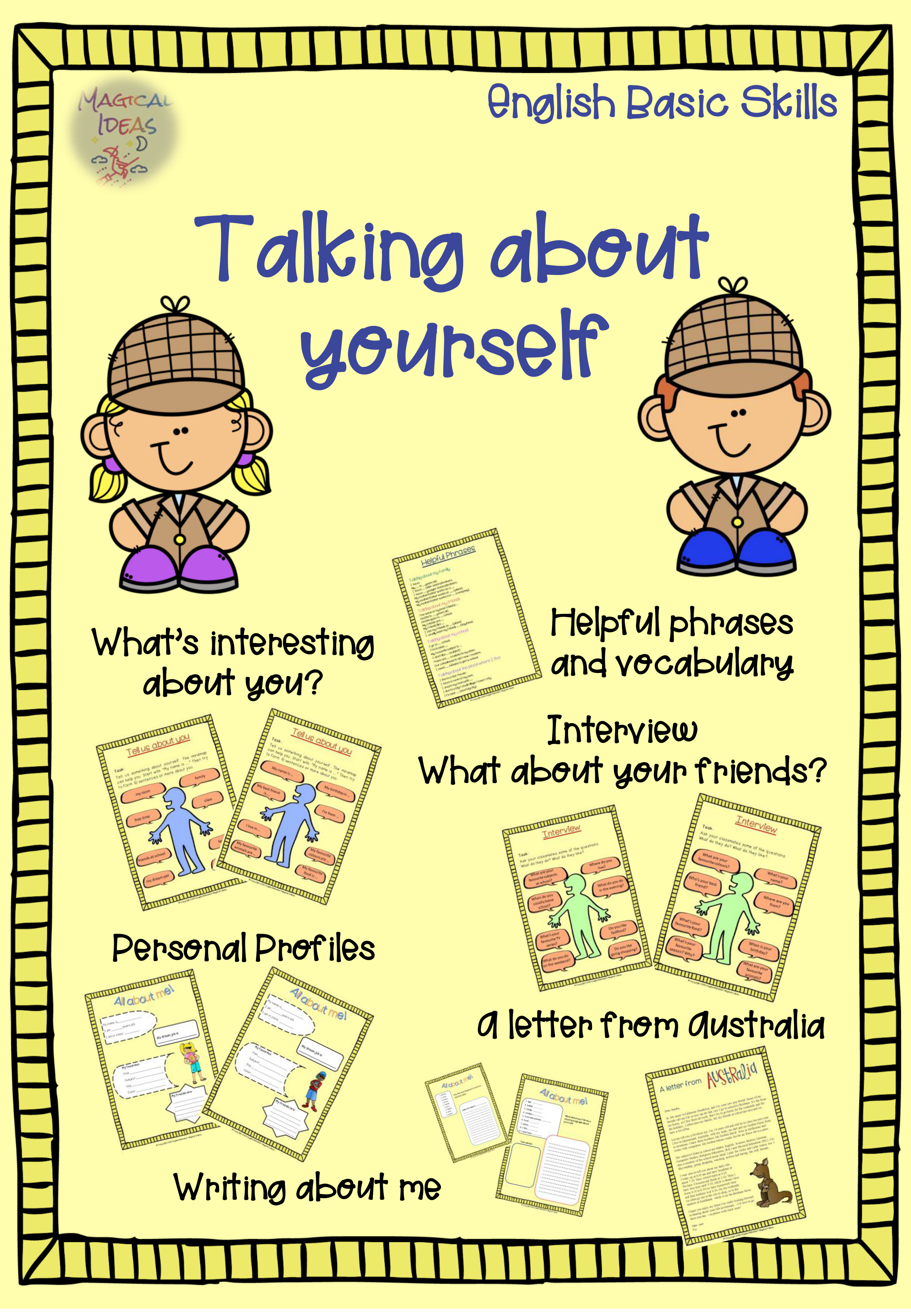 Englisch Basic Skills Talking About Myself Speaking Unterrichtsmaterial Im Fach Englisch In 2020 Unterrichtsmaterial Englischunterricht Englisch Lernen
