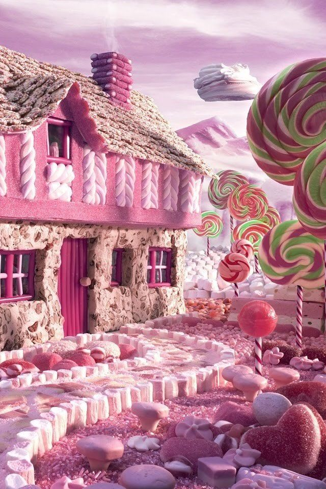 人気106位 お菓子の家 Iphone壁紙 ピンクの家 お菓子の家 壁紙