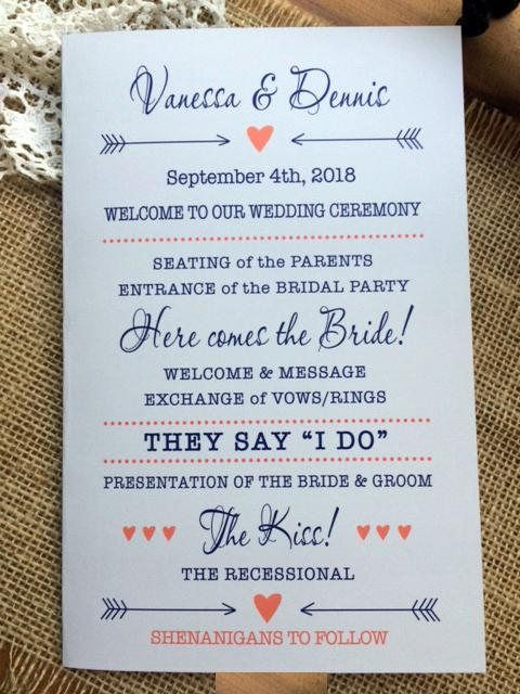 wedding ceremony program order of ceremony 5 5 x 8 5 2 sided or
