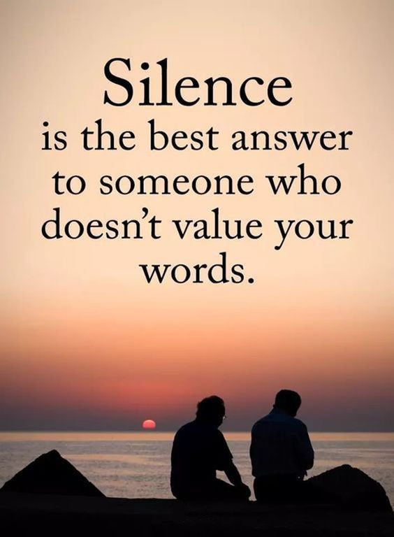 Silence Is The Best Answer To Someone Who Doesn T Value Your Words Silencequotes Silenceisthebestanswerquotes Insp In 2020 Silence Quotes Words Quotes Life Quotes