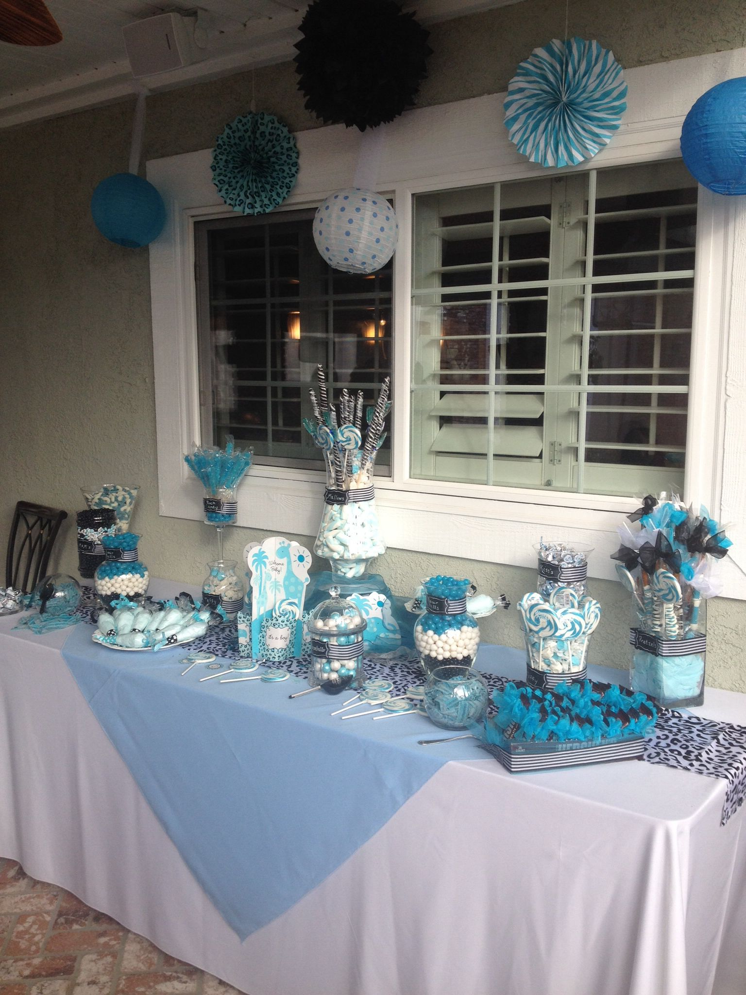 Blue Candy For Baby Shower : candy, shower, Black, White, Shower, Candy, Table, Table,