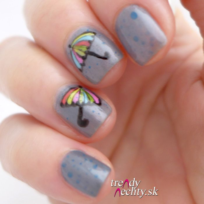 Nail art, colorful umbrellas, rain manicure | Trendy nail design ...