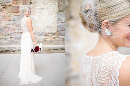 Tadashi Shoji Wedding Dress Birdcage Veil And Diamond Earrings