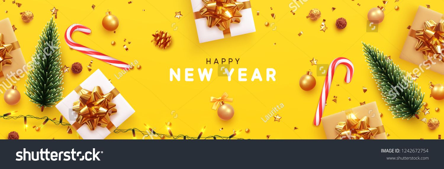 Happy New Year Banner Xmas Sparkling Lights Garland With Gifts Box And Golden Tinsel Horizontal Christ Happy New Year Banner New Year Banner Christmas Poster