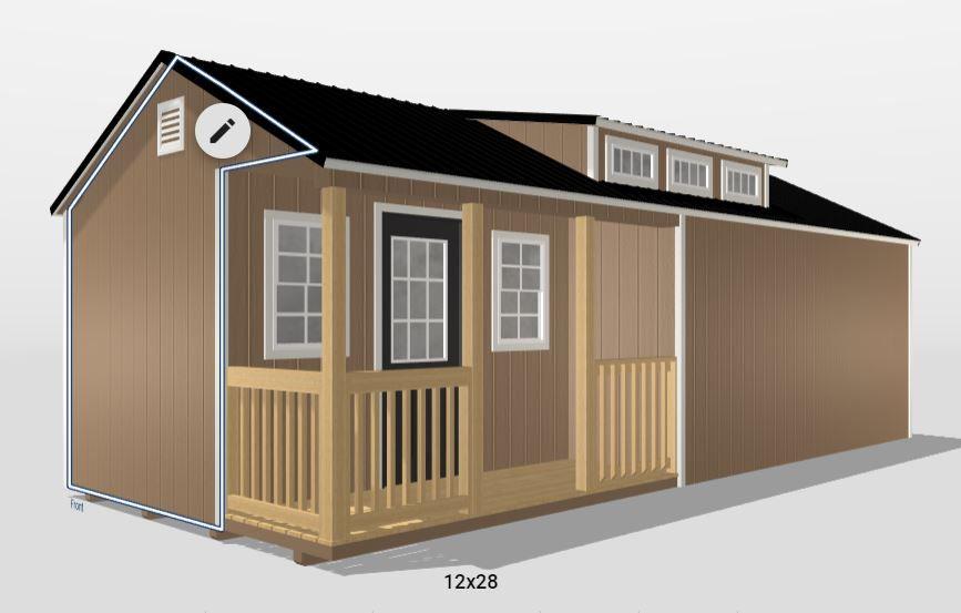 12x28 Ranch Dormer Shed In 2020 Shed Shed Design Dormers