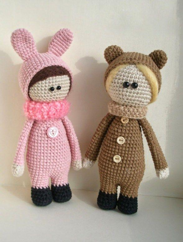Muñecas que usan trajes de animales crochet patrón   muñeca ...