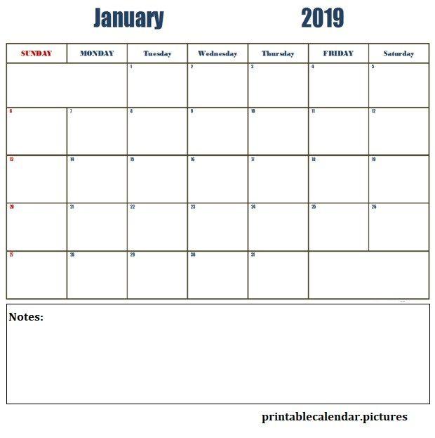 January Printable Calendar 2019 Printable January 2019 Calendar