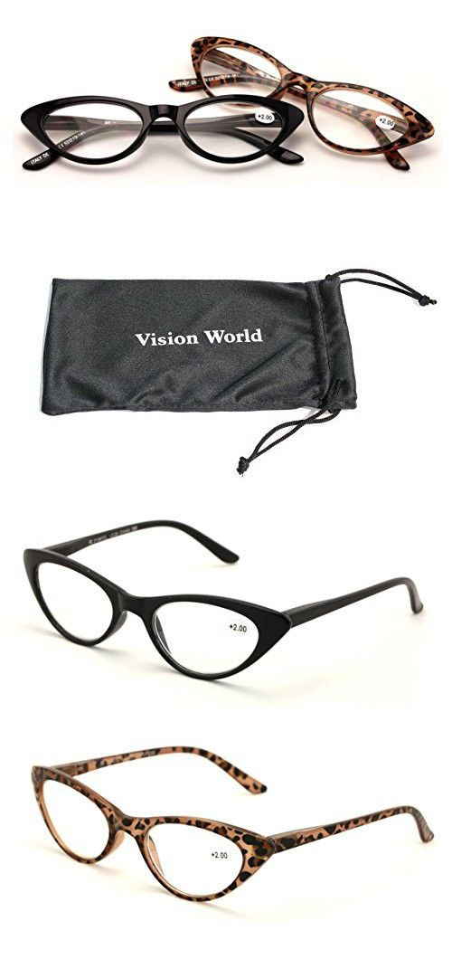 7bec018fc0 V.W.E. 2 Pairs Deluxe Female Cateye Vintage Reading Glasses Women Readers  (1 Black 1 Tortoise