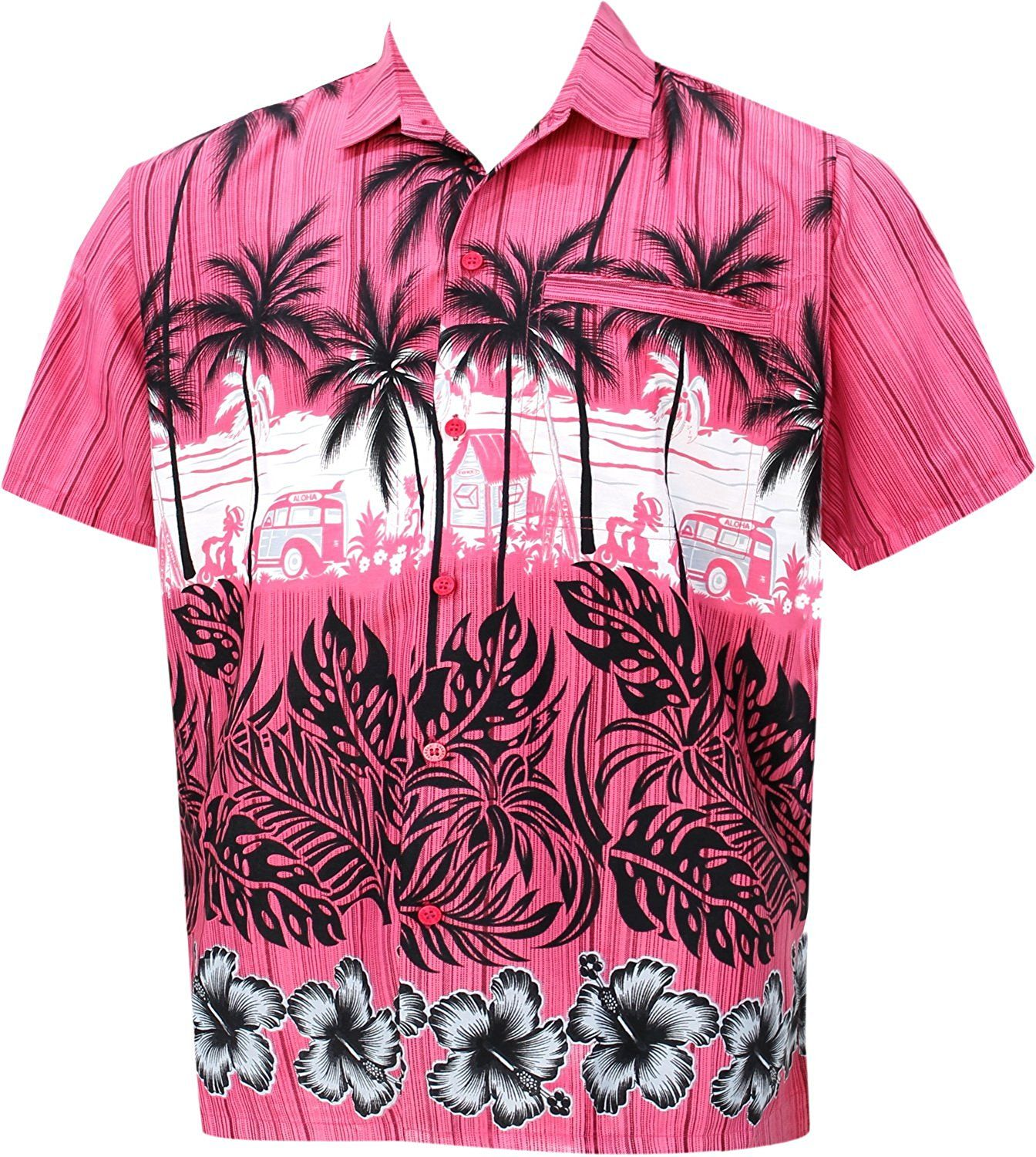 3cf98f13 La Leela Men's Hibiscus Palm Tree Aloha Hawaiian Short Sleeves Button Down  Hawaiian Shirt at Amazon Men's Clothing store: