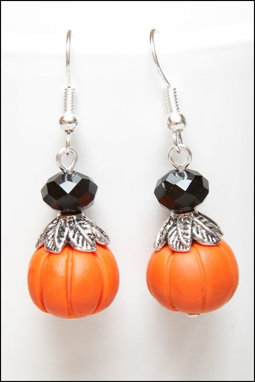 Pumpkin Harvest Fall Halloween Polymer Clay and Crystal Adorable Pair of Earrings. $5.00, via Etsy.