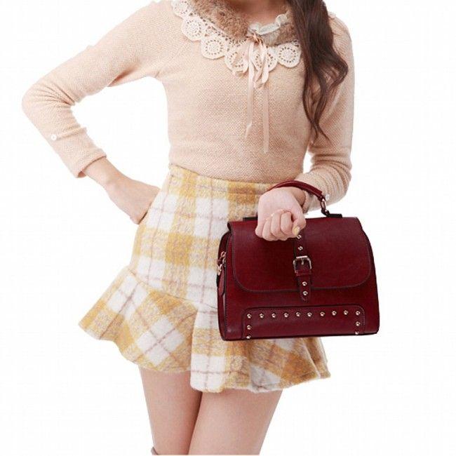 a9df128df0 Women s Classic PU Leather Multipurpose Handbag Satchel With Rivet Wine Red